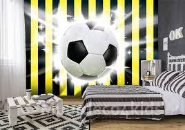 Voetbal Fotobehang Geel Zwart Muurdeco4kids