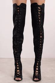 rebel black lace up thigh high boots