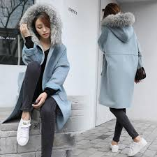 2017 korean style autumn winter jacket women basic coat elegant faux fur collar hooded pockets overcoat loose long co coat jackets for brown
