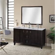 double sink bathroom mirrors. IN Series 48 Inch Classic Double Sink Bathroom Vanity Dark Brown Finish Mirrors