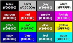 Net System Colors Chart Color Table Internet Explorer