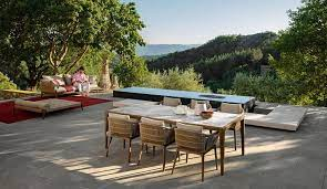 stylish outdoor kitchen and dining area