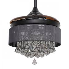 36 inch modern led crystal chandelier black ceiling fan with lights and remote invisible retractable blades
