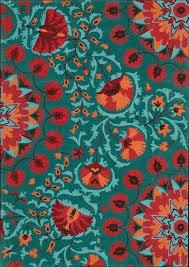 orange and turquoise rug