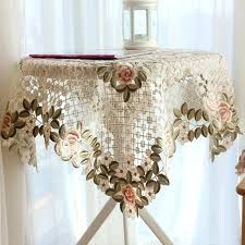 side table cover country luxury embroidered fabric lace wedding home round tablecloth cover with lotus round side table cover