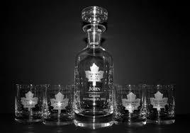 engraved wellington whiskey decanter set with toronto maple leafs logo groomsmen gift