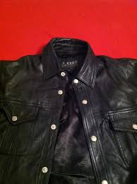 vintage kookie leather shirt motorcycle jacket men s large very soft euc
