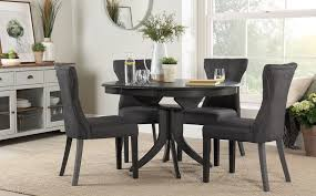 gallery hudson round grey wood extending dining table with 6 bewley slate chairs