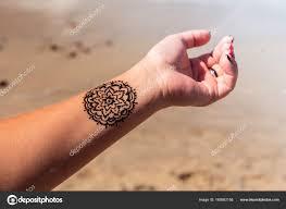 Ruku Mandala Vzor Tetování černá Henna Mehendi Stock Fotografie