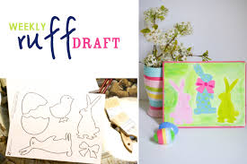 ruff draft easter paintings with free easter silhouette templates