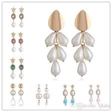 5 styles fashion ol simple pearl earrings cute crystal pendant earrings fashion exquisite temperament jewelry female accessories earring accessories gift