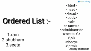 Html List Ordered List And Unordered List In Hindi