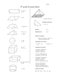 Basic Math Formulas Chart 7 Eighth Grade Math Formula Chart 8th Grade Formula Sheet