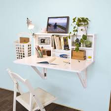 wall mounted desk fold away study table painted with white color with lamp bookshelf and folding chair ideas