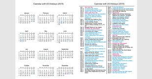 2019 Full Year Calendar With Us Holidays 2019 Calendar