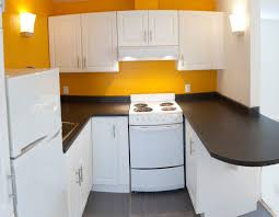 Yellow Wall Kitchen Small White Compact Kitchen Idea With Striking Yellow Wall