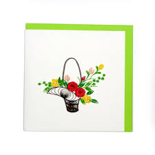 Paper Quilling Flower Bokeh Quilling Handcrafted Card Flower Bouquet Handmade Card