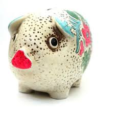 F Vintage Colorfull Pig Piggy Bank With Bright Painted Flowers Ce