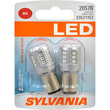 Sylvania 2057 Led Red Mini Bulb Bright Led Bulb Ideal For Stop And Tail Lights Contains 2 Bulbs