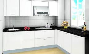 Simple Modern White Kitchen Cabinet Ideas With Black Countertop With