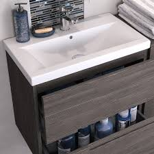 urban designer 800mm wall hung 2 drawer cashmere gloss compact for wall basin vanity unit hung