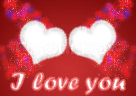 stock image of two hearts from white fur on a red background with addition celebratory