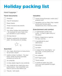 Sample Travel Packing List Packing Checklist Templates 6 Free Samples Examples Format