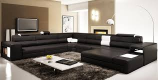 Contemporary Sectional Couch Divani Casa Doss Modern Brown Eco