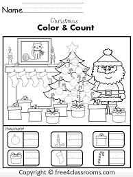 Christmas worksheets and teaching resources for esl students. Free Christmas Numbers Math Worksheets For Kindergarten How Many Free4classrooms