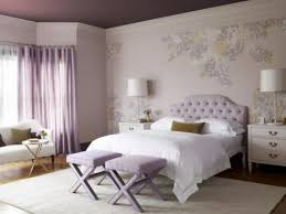 white fur rug wallpaper. purple floral wallpaper design in sweet bedroom color combined with transparent curtain and single armless chair on white fur rug i