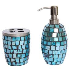 blue glass bathroom accessories. Turquoise Bathroom Accessories | Mosaic Glass Accessory Set Lotion Pump Toothbrush . Blue O