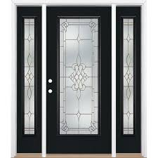masonite stately full lite decorative glass right hand inswing peppercorn painted fiberglass prehung entry door with sidelights and insulating core common