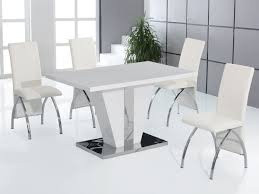 full white high gloss dining table and 4 chairs set homegenies