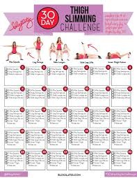 30 Day Leg Challenge Chart 30 Day Thigh Slimming Challenge Blogilates