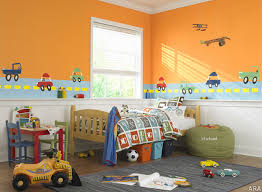 warm orange and white themed kids room paint ideas with beautiful car wall drawing painting on