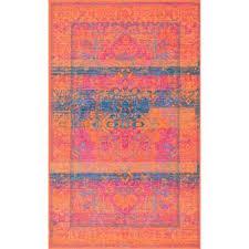 vintage kaila orange 8 ft x 10 ft area rug