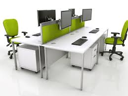 furniture configuration. A Bench Desk Configuration With Screens, Tool Rail, Office Desks Furniture