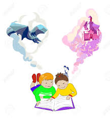 children reading a fairytale book kids imagination concept and boy lying on floor