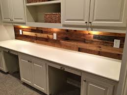Pallet Wood Backsplash Pallet Wood Wall With Built In Desk Revival Woodworks