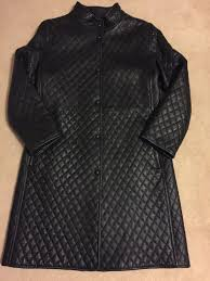 hilary radley black leather quilted coat size 6