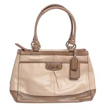 coach beige taupe leather shoulder handbag f21626