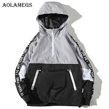 <b>Aolamegs Jackets Men Patchwork</b> Side Letter Hooded Jacket ...
