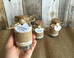 rustic wedding favors lavender filled burlap and lace glass bottles bridal shower favors with personalized tags