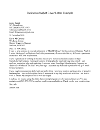 Business Analyst Cover Letters The Letter Sample