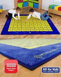 100 square counting grid carpet 2m x 2m