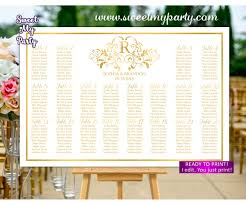 Personalized Seating Chart Gold Seating Chart With Monogram Gold Wedding Seating Plan 112w