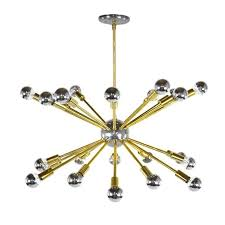 vintage chrome and brass sputnik chandelier