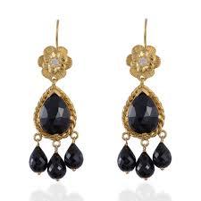 black spinel moonstone chandelier earrings