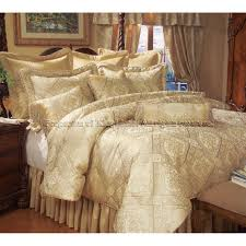 luxury gold king size imperial comforter set with gold ruffled king bed skirt and jacquard