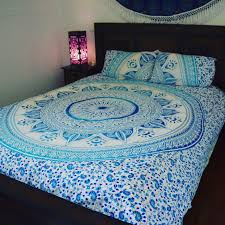 blue white ombre medallion circle duvet cover set with 2 pillow covers royalfurnish com